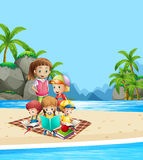 Children reading books on the beach Royalty Free Stock Photo
