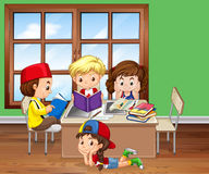 Children reading books in the classroom. Illustration Stock Images