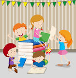 Children reading books in classroom. Illustration Royalty Free Stock Images