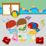 Children reading books in the classroom. Illustration Royalty Free Stock Photo