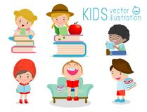 Children reading books, Happy Children while Reading Books, kids while Reading Books. Kids Reading Books Vector Royalty Free Stock Images