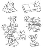 Children reading books in the library. Coloring book Stock Photo