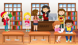 Children reading books in library. Illustration royalty free illustration