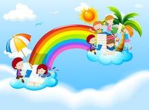 Children reading books over the rainbow. Illustration Stock Images