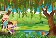 Children reading books by the pond. Illustration Stock Photography
