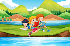 Children reading books by the river. Illustration Stock Image