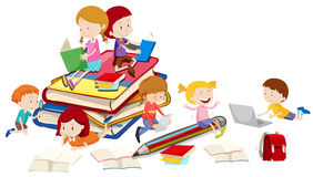 Children reading books together. Illustration Stock Photo