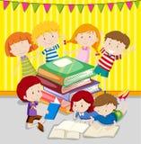 Children reading books together. Illustration Royalty Free Stock Images