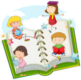 Children reading books together. Illustration Stock Images
