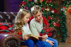 Children reading an interest book sitting on the bed against the. Decorated Christmas tree Royalty Free Stock Image