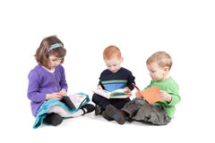 Children reading kids books isolated