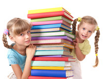 Children reading stack of book. Royalty Free Stock Photos