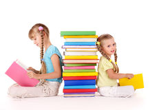 Children Reading Stack Of Book. Stock Photos