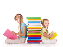 Children Reading Stack Of Book. Royalty Free Stock Images