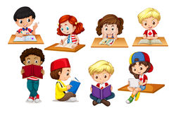 Children reading and writing. Illustration stock illustration