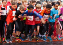 Children ready to run Stock Photo