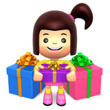Children received a Many gift. 3D Kids Character Royalty Free Stock Images