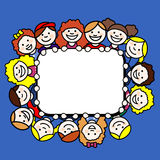 Children in rectangular frame Royalty Free Stock Photos
