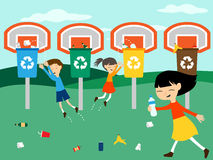 Children recycle playing at basket with recycling bin vector illustration. For eco green education Royalty Free Stock Image