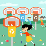 Children recycle playing at basket with recycling bin vector. Illustration for eco green education stock illustration