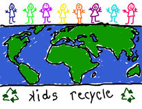 Children for recycling awareness. Child's drawing of diverse group of children promoting recycling Stock Images