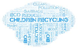 Children Recycling word cloud. Wordcloud made with text only royalty free stock image