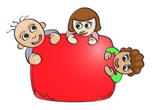 Children with red blank space. Illustration of three children with red blank space for text Stock Image