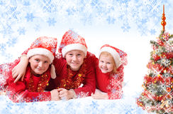 Children in red christmas hat Royalty Free Stock Photography