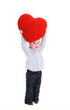 Children with red heart Stock Images