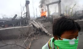 Children Refugees. Standing in front of their village which has been destroyed by mount merapi eruption in klaten, central java, indonesia Stock Image