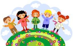 Children rejoice to spring on glade. Children rejoice to spring on a glade Royalty Free Stock Image