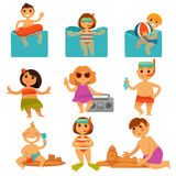 Children relaxing in pool and sand colorful poster Stock Photography