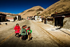 Children of a remote southern Tibetan Village Royalty Free Stock Photography
