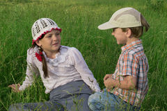 Children rest in nature Stock Photography