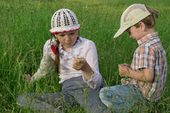 Children rest in nature Stock Photo