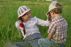 Children rest in nature Royalty Free Stock Image