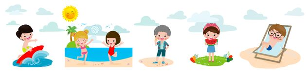 Children rest in the summer on a tropical beach on vacation holiday concept set, surfer boy, kids eating watermelon and ice cream. Child Playing Volleyball on stock illustration