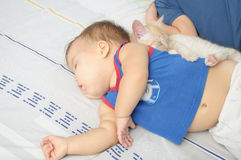 Children resting  daytime. Children and pet sleeping and resting  daytime Royalty Free Stock Image