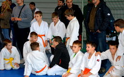 Children resting in a National Contest of Judo. Stock Image