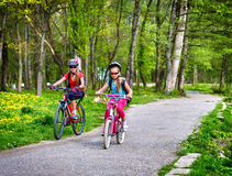 Children ride bicycle on green grass and flowers in park. stock image