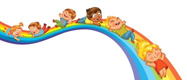 Children ride on a rainbow Royalty Free Stock Photo