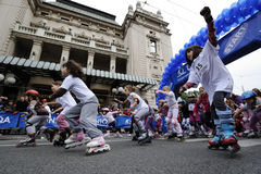 Children ride rollers at Belgrade Rollerskates Race Royalty Free Stock Image