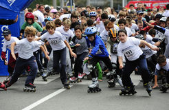 Children ride rollers at Belgrade Rollerskates Race Stock Image