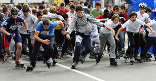Children ride rollers at Belgrade Rollerskates Race Royalty Free Stock Photography