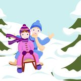 Children ride in a sleigh Royalty Free Stock Photography
