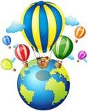 Children riding on balloon around the world. Illustration Stock Photography