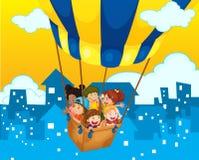 Children riding on balloon in the city. Illustration Stock Photo