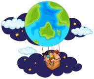 Children riding balloon at night. Illustration Stock Images