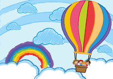 Children riding on balloon in the sky. Illustration Royalty Free Stock Image