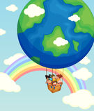 Children riding on balloon in the sky. Illustration Royalty Free Stock Images